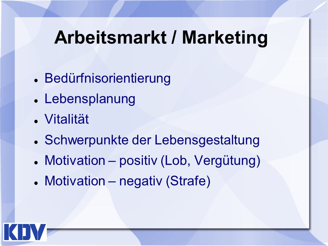 Arbeitsmarkt / Marketing