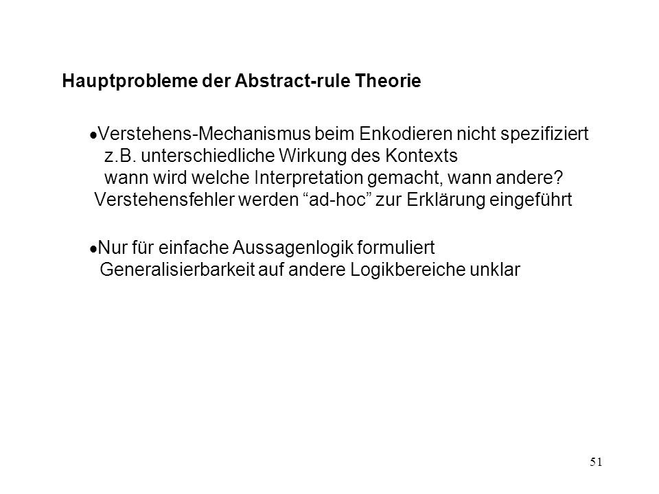 Hauptprobleme der Abstract-rule Theorie