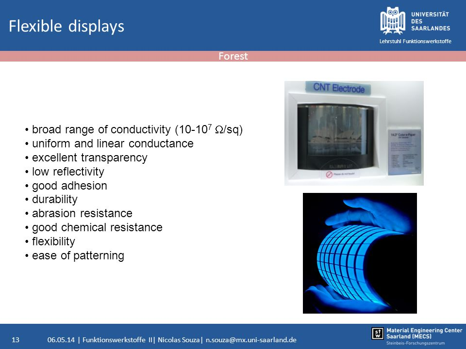 Flexible displays Forest broad range of conductivity (10-107 W/sq)