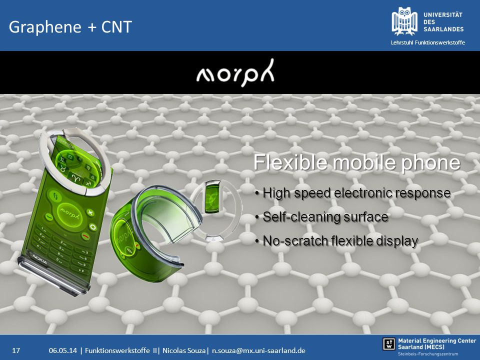 Flexible mobile phone Graphene + CNT High speed electronic response