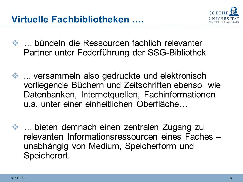 Virtuelle Fachbibliotheken ….