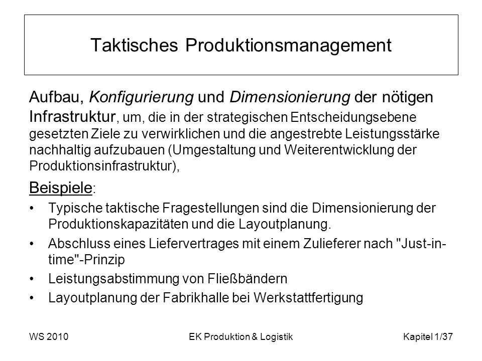 Taktisches Produktionsmanagement