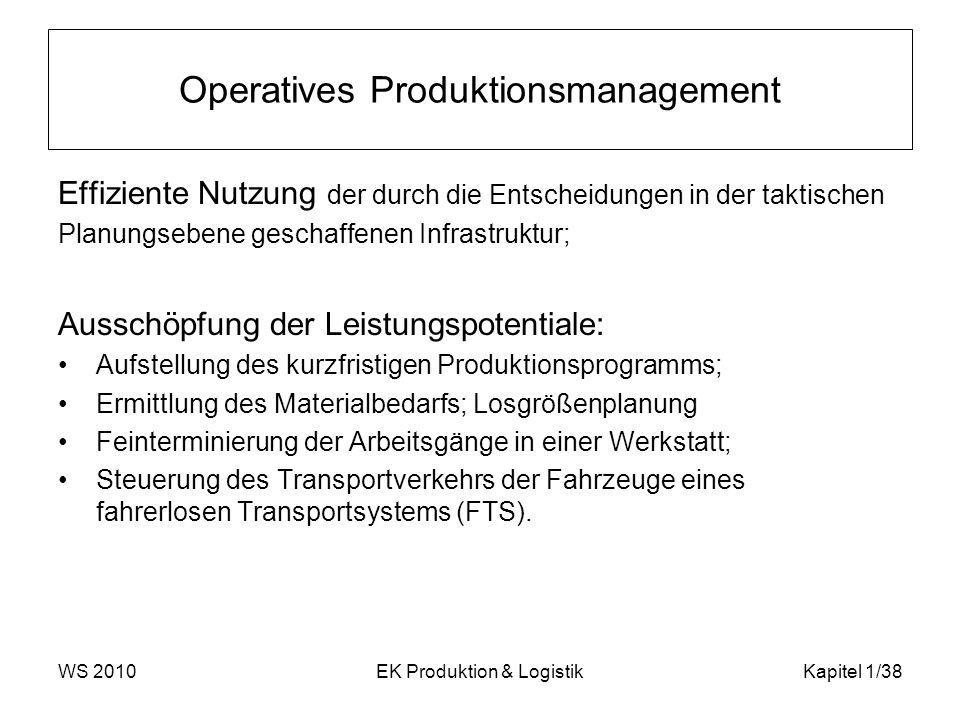 Operatives Produktionsmanagement