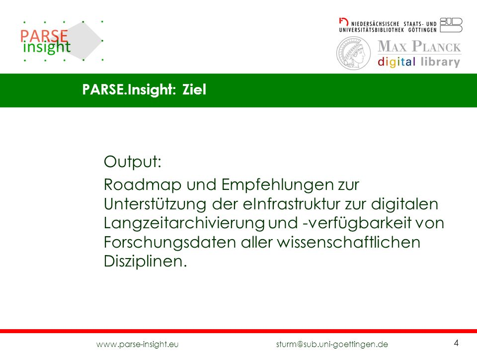 PARSE.Insight: Ziel Output: