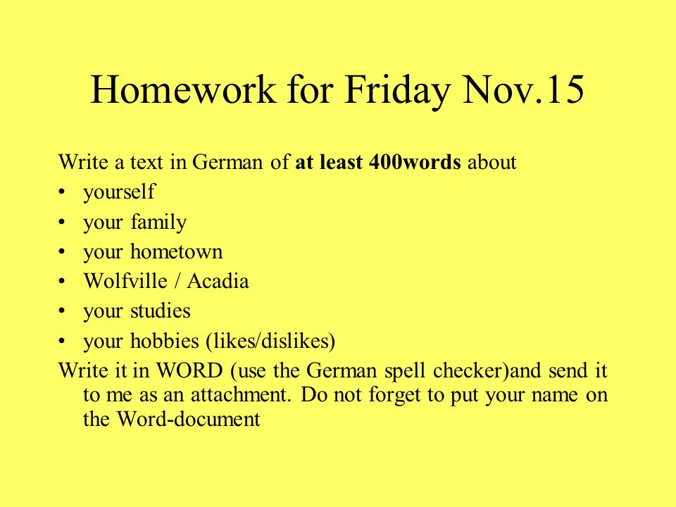 Homework for Friday Nov.15