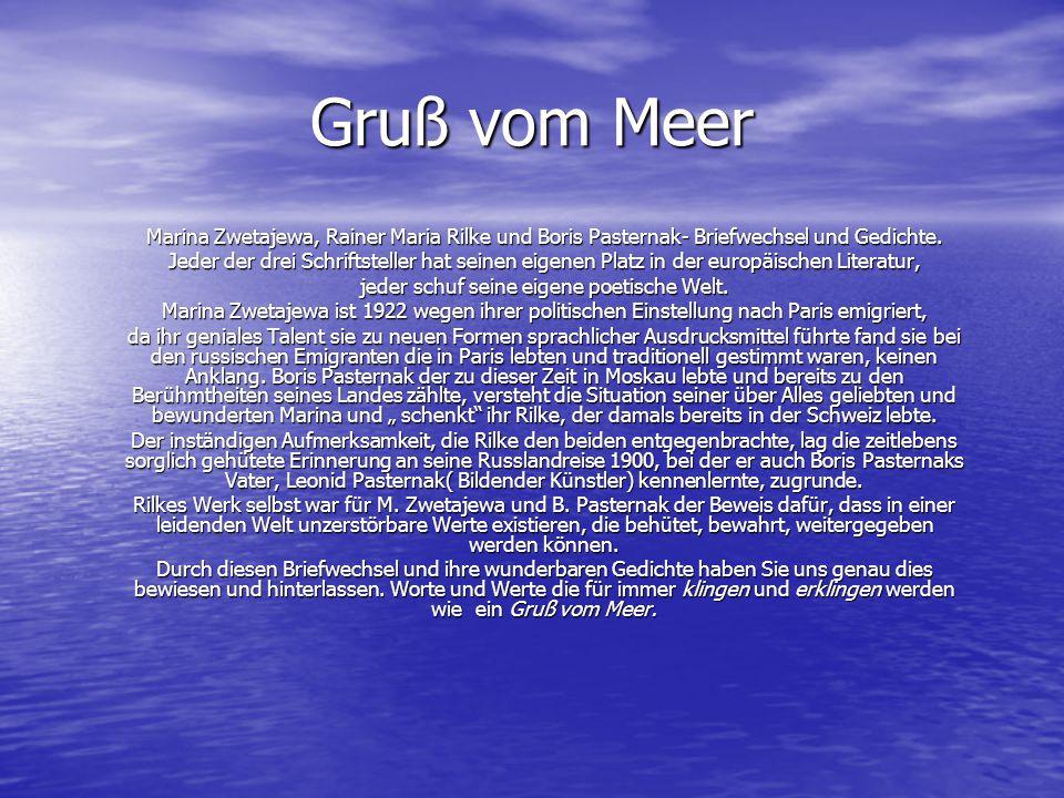 Gruß Vom Meer Briefwechsel Und Gedichte Von Rainer Maria