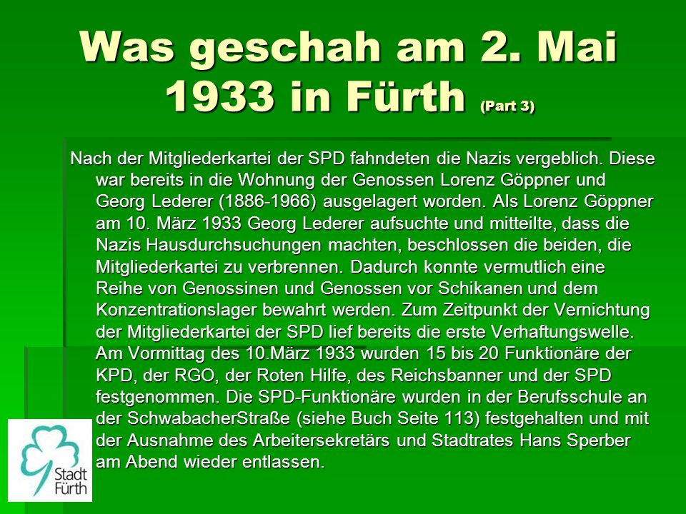 Was geschah am 2. Mai 1933 in Fürth (Part 3)