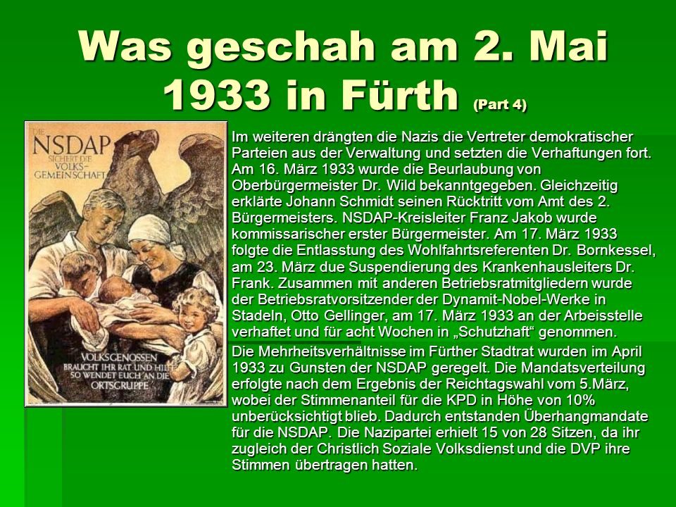 Was geschah am 2. Mai 1933 in Fürth (Part 4)