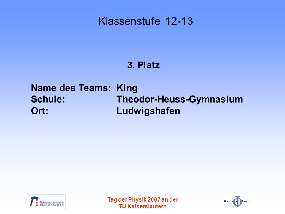 Klassenstufe Platz Name des Teams: King