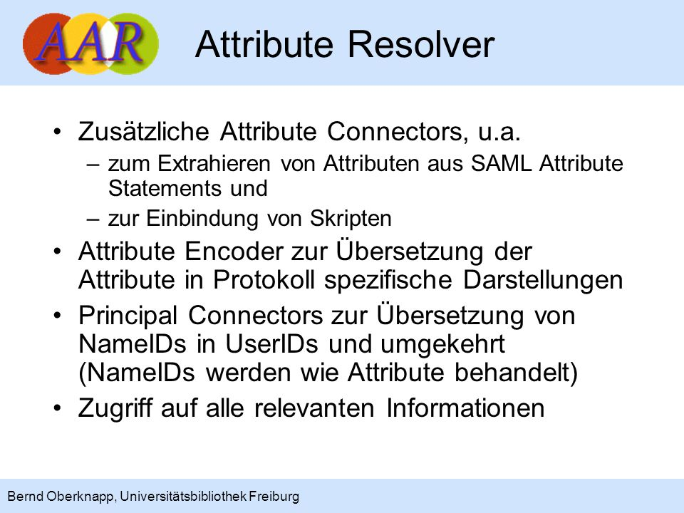 Attribute Resolver Zusätzliche Attribute Connectors, u.a.