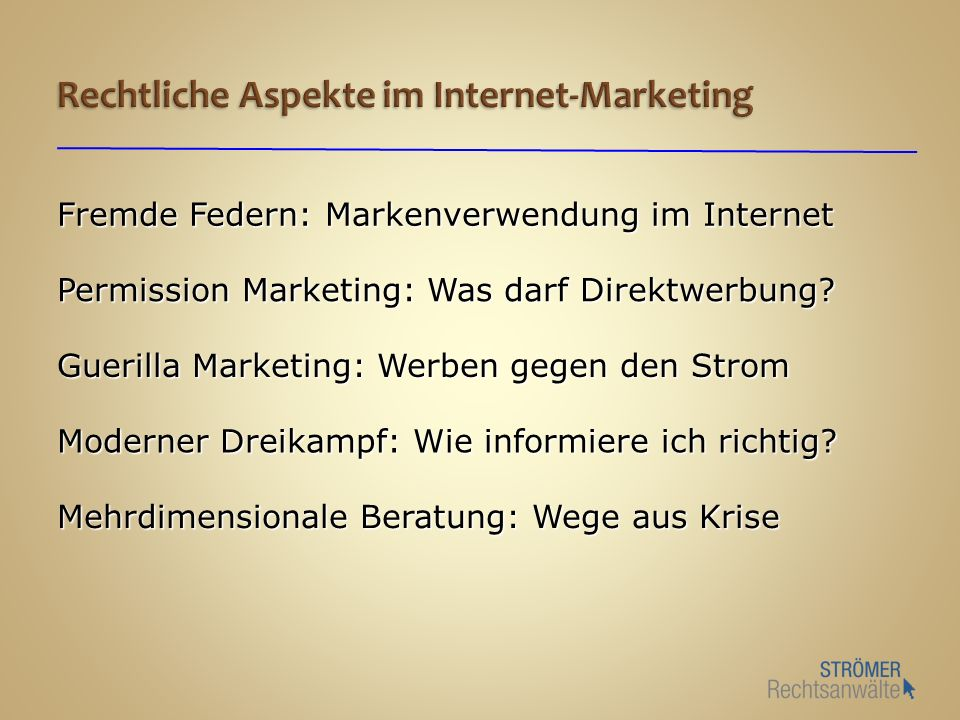 Rechtliche Aspekte im Internet-Marketing