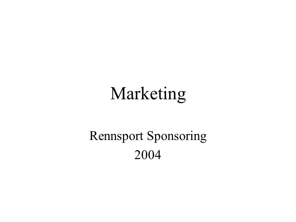 Marketing Rennsport Sponsoring 2004