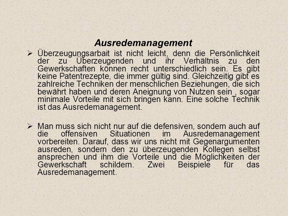 Ausredemanagement