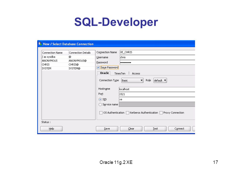 SQL-Developer Oracle 11g.2 XE