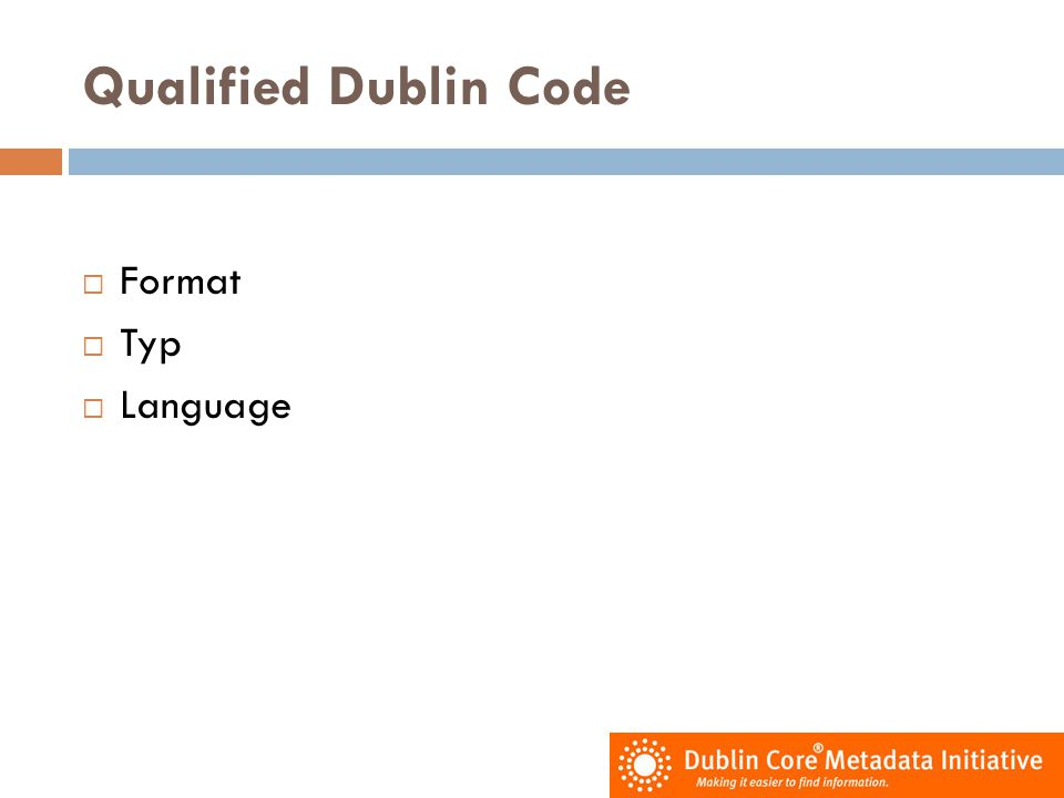 Qualified Dublin Code Format Typ Language
