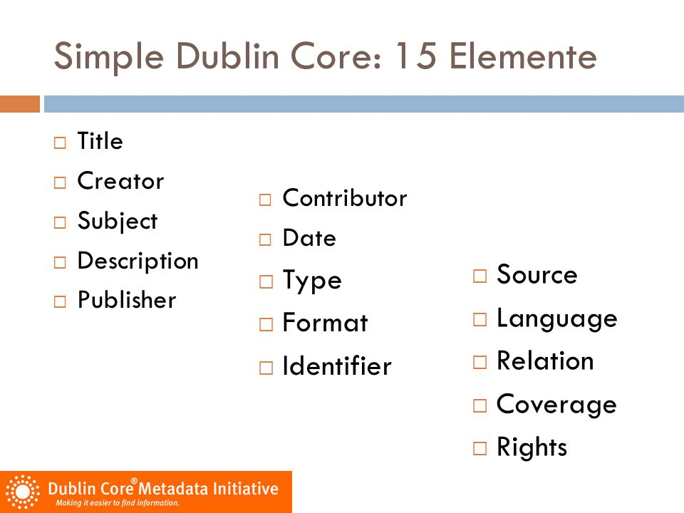 Simple Dublin Core: 15 Elemente