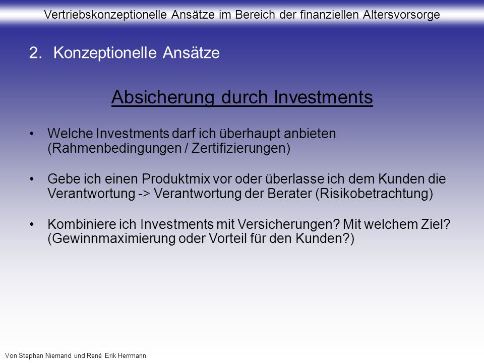 Absicherung durch Investments