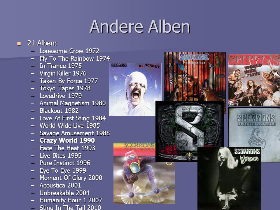 Andere Alben 21 Alben: Lonesome Crow 1972 Fly To The Rainbow 1974
