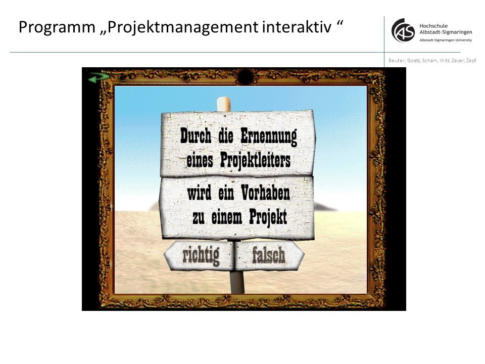 "Programm ""Projektmanagement interaktiv"