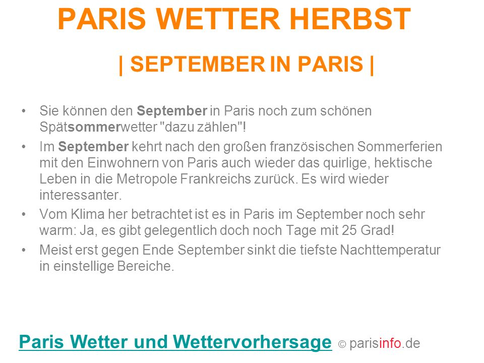 PARIS WETTER HERBST | SEPTEMBER IN PARIS |