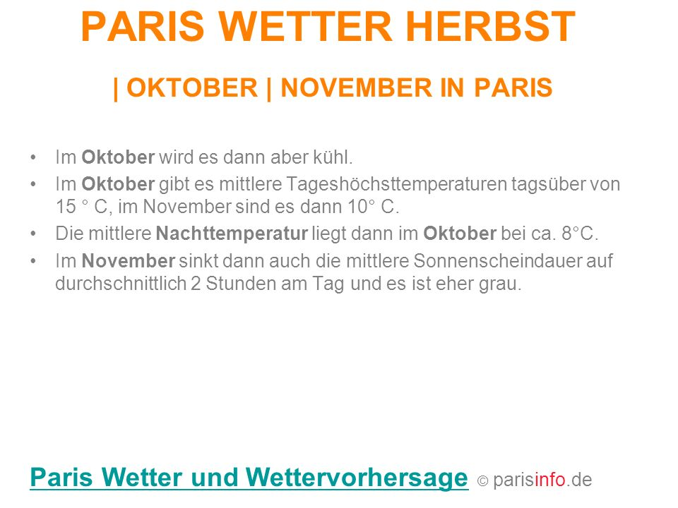 PARIS WETTER HERBST | OKTOBER | NOVEMBER IN PARIS