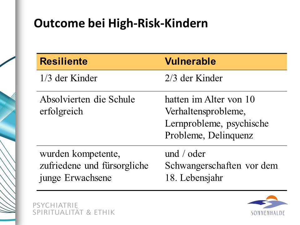 Outcome bei High-Risk-Kindern