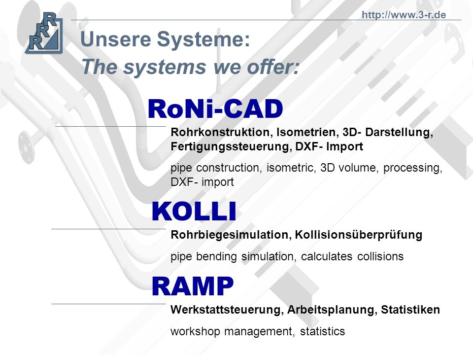 RoNi-CAD KOLLI RAMP Unsere Systeme: The systems we offer:
