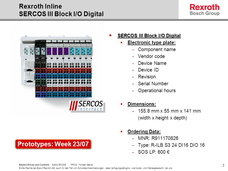 Rexroth Inline SERCOS III Block I/O Digital