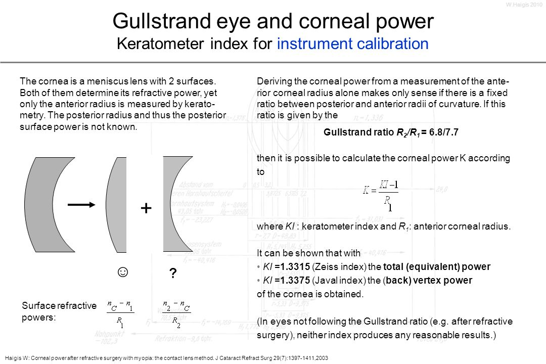 W.Haigis 2010 Gullstrand eye and corneal power Keratometer index for instrument calibration.