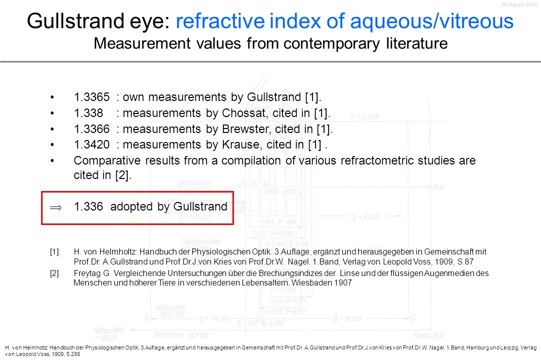 Gullstrand eye: refractive index of aqueous/vitreous