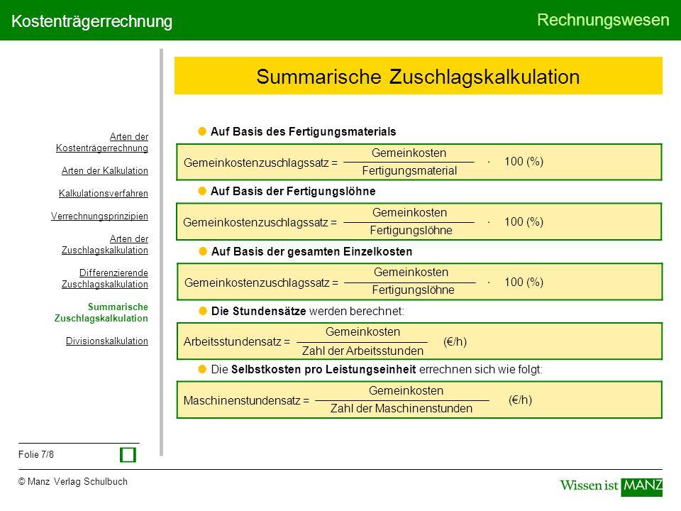 7 summarische zuschlagskalkulation - Kostentragerrechnung Beispiel