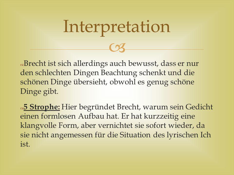 Bertolt Brecht Schlechte Zeit Für Lyrik Ppt Herunterladen