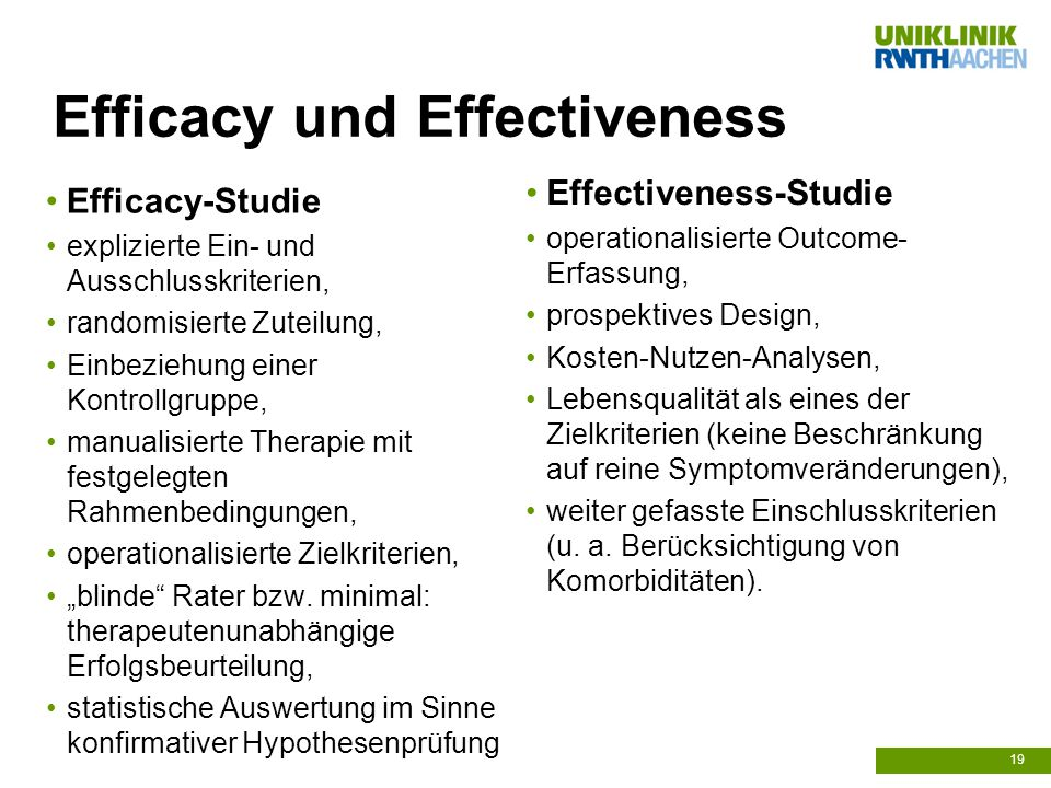 Efficacy und Effectiveness