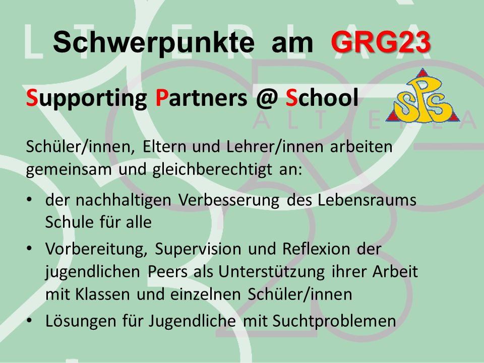 Schwerpunkte am GRG23 Supporting Partners @ School