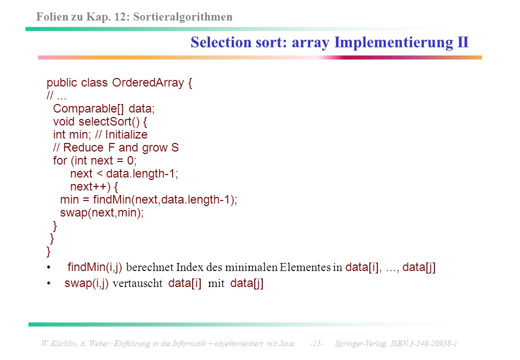 Selection sort: array Implementierung II