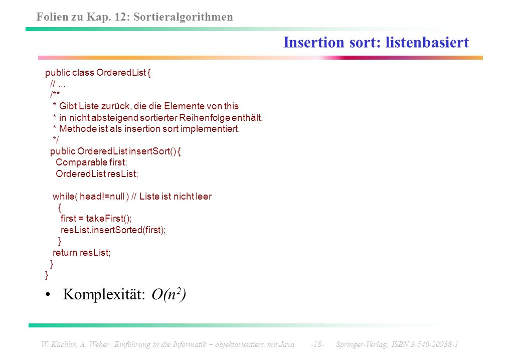 Insertion sort: listenbasiert