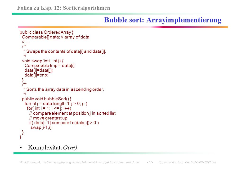 Bubble sort: Arrayimplementierung