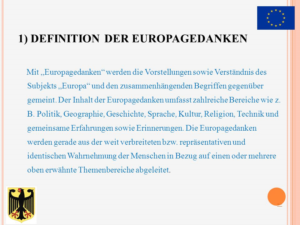 1) Definition der Europagedanken