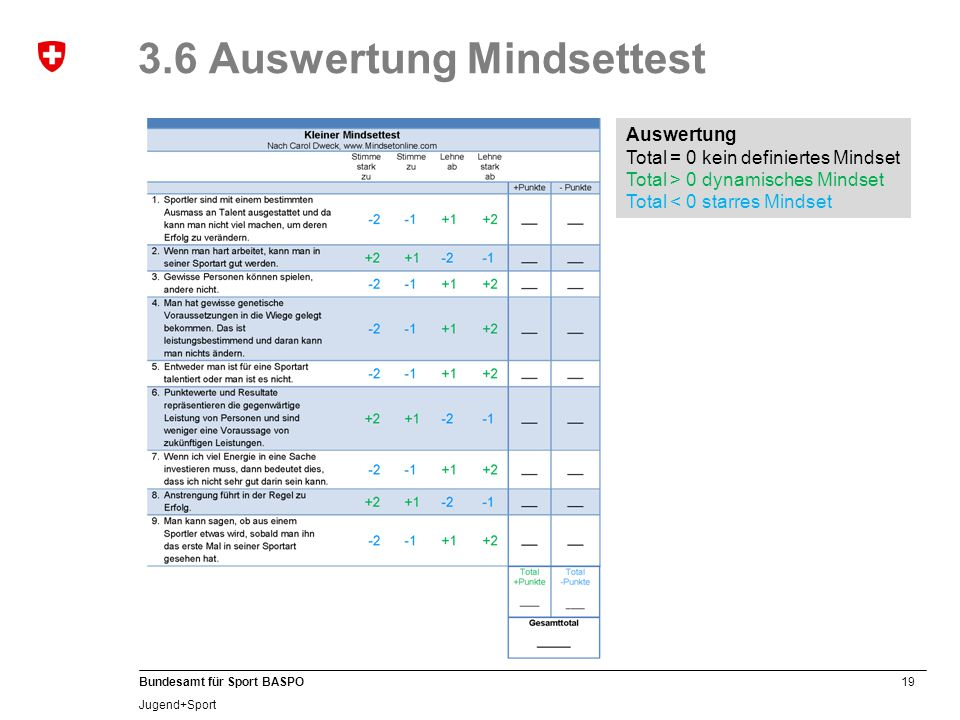 3.6 Auswertung Mindsettest