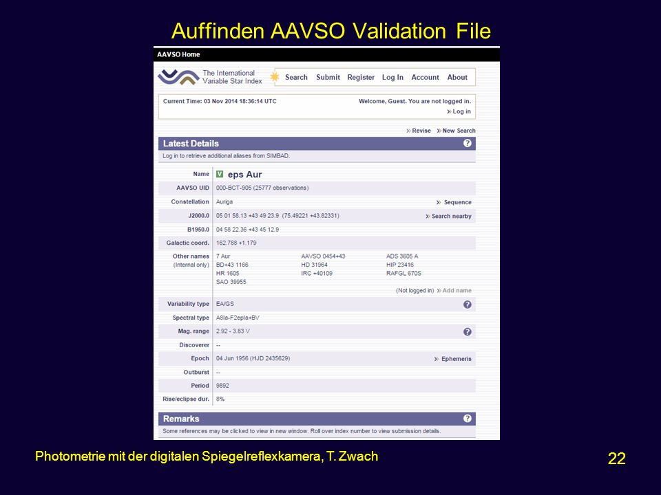 Auffinden AAVSO Validation File