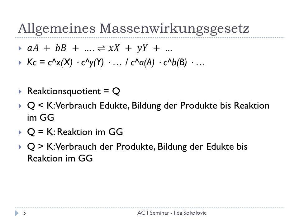 allgemeines massenwirkungsgesetz - Massenwirkungsgesetz Beispiel
