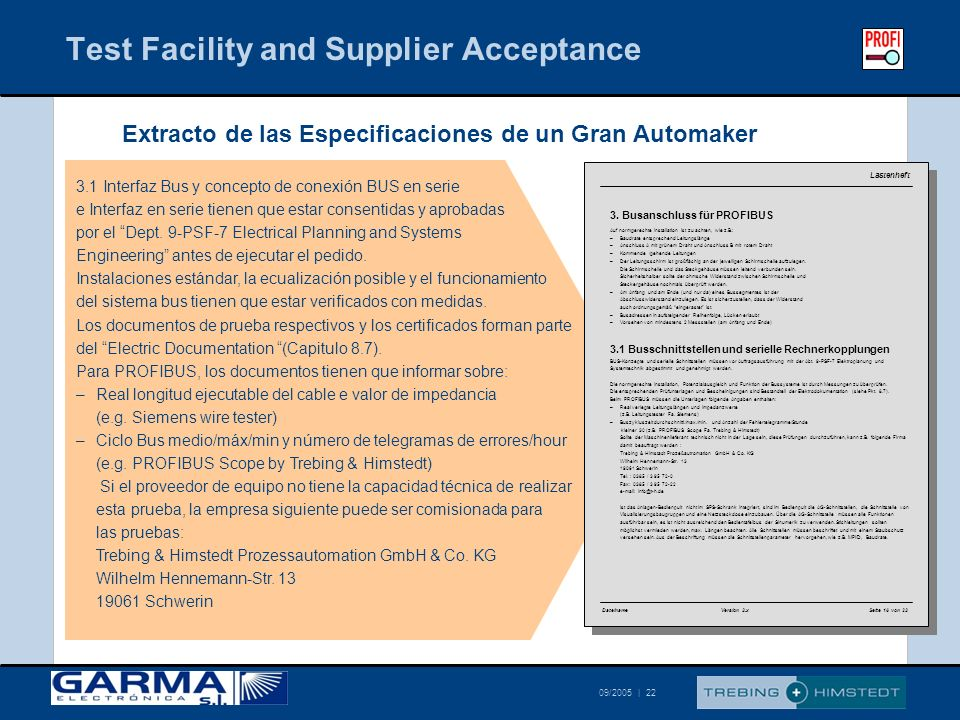 Test Facility and Supplier Acceptance