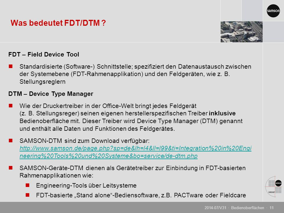 Was bedeutet FDT/DTM FDT – Field Device Tool