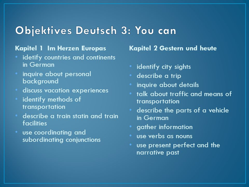 Objektives Deutsch 3: You can