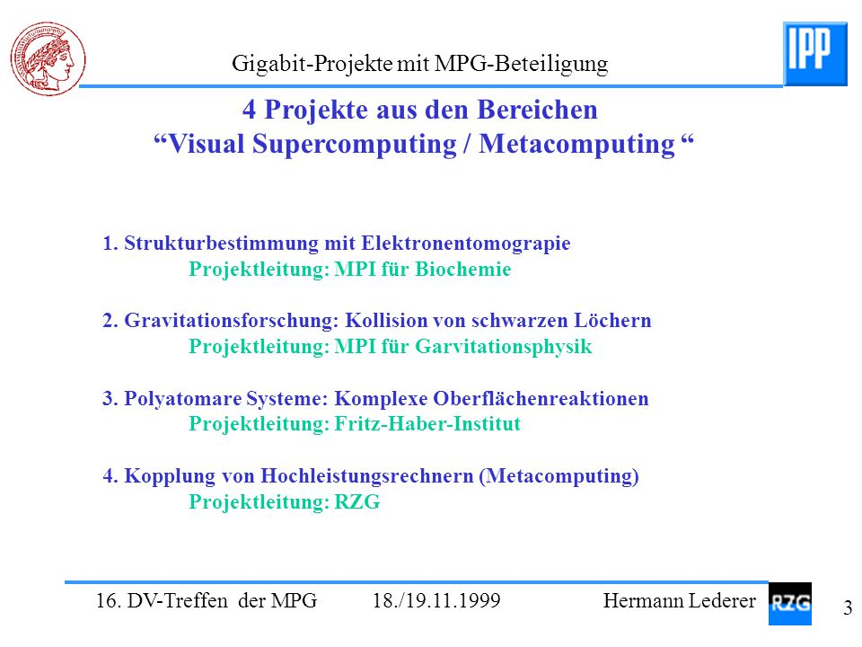 4 Projekte aus den Bereichen Visual Supercomputing / Metacomputing
