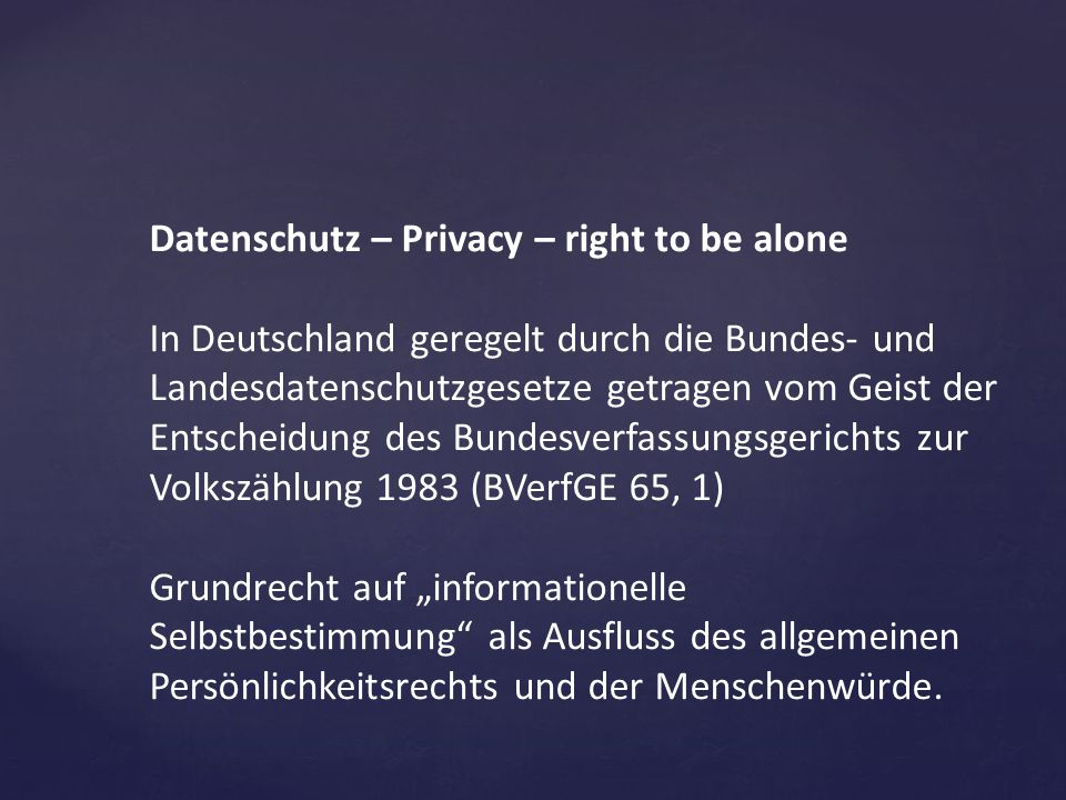 Datenschutz – Privacy – right to be alone