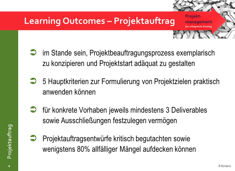 Learning Outcomes – Projektauftrag