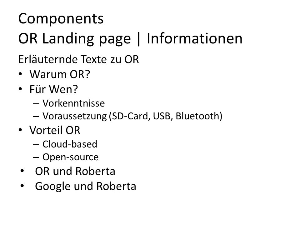 Components OR Landing page | Informationen