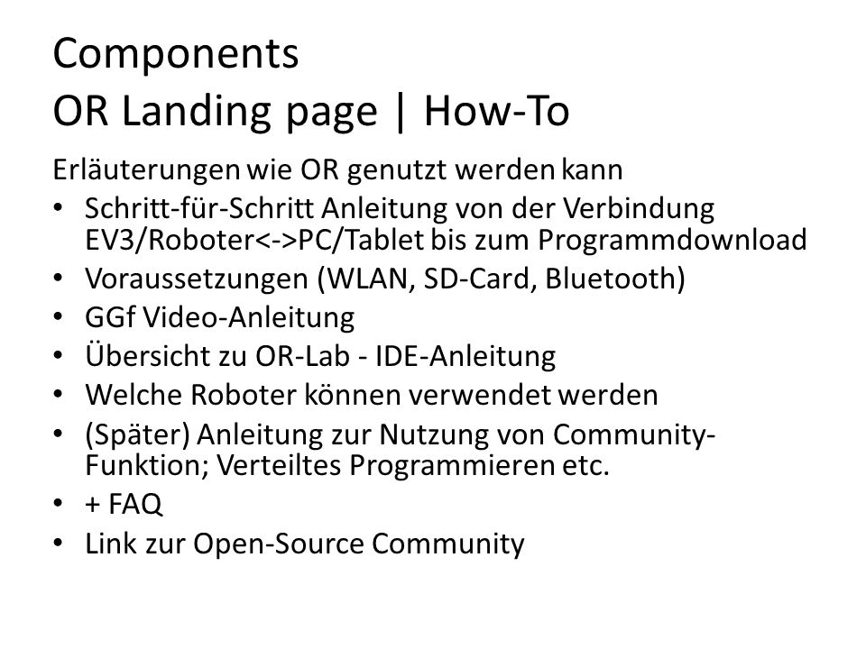 Components OR Landing page | How-To
