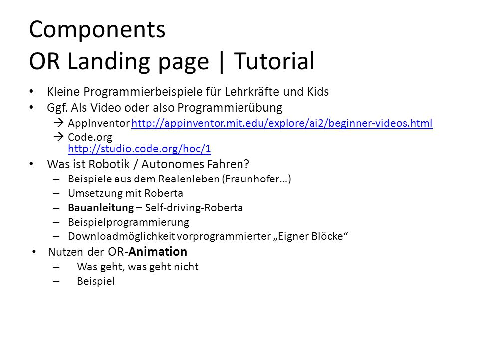 Components OR Landing page | Tutorial